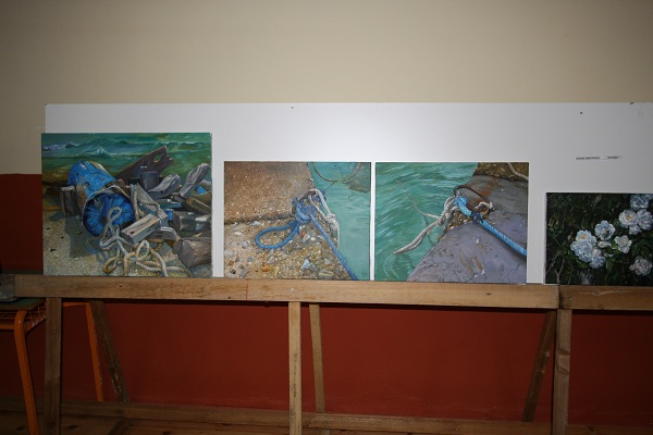 Elena Zantreik's paintings on stand in Mesta excibition