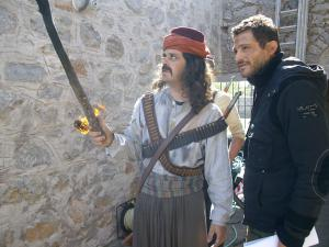 Giorgos Karamixos and Basilis Balas in the making of Matomena Homata in Mesta
